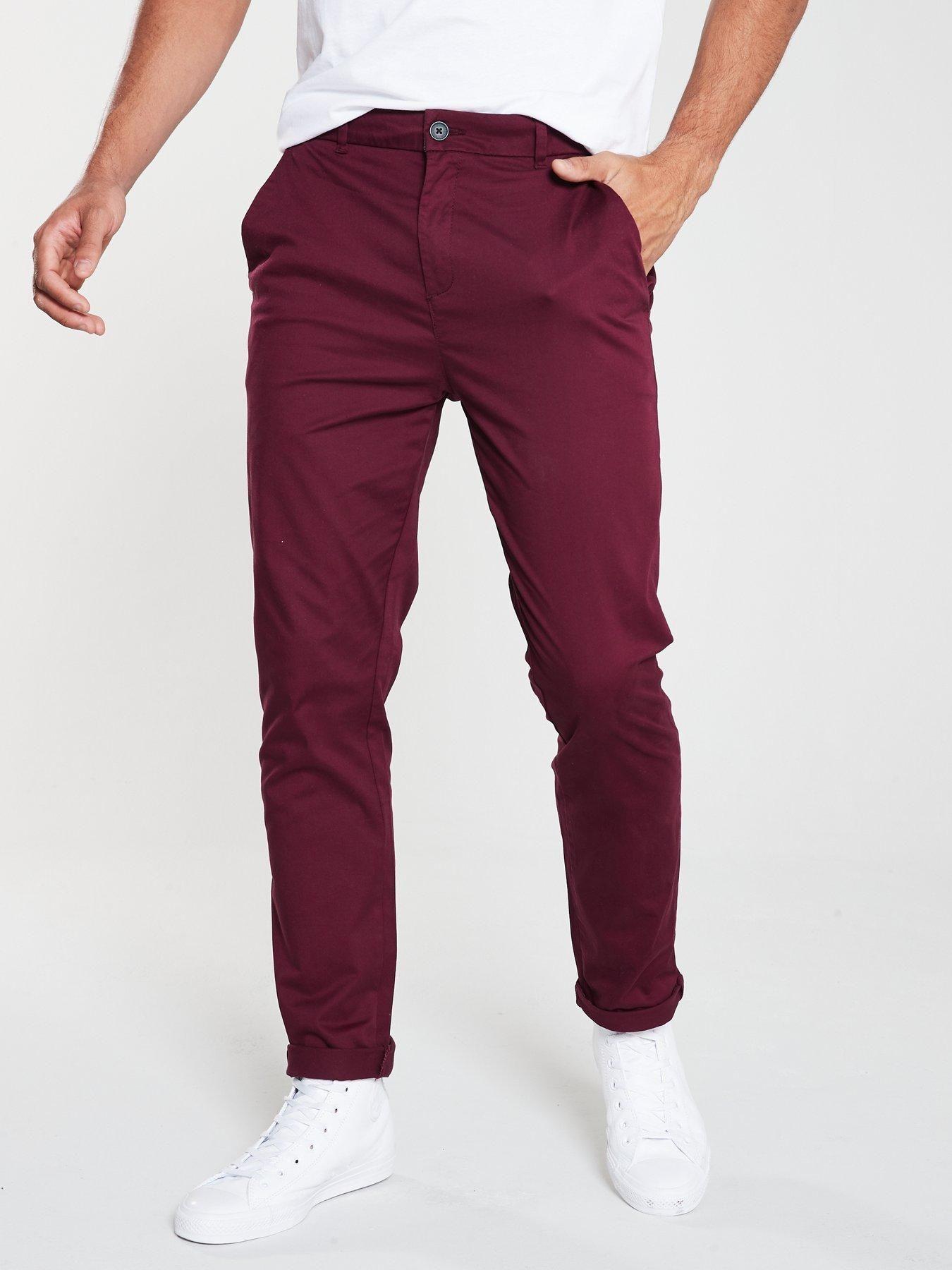 Mens Maroon Jeans