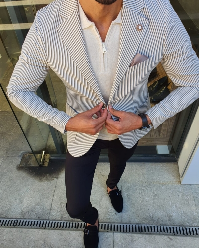 Beige Slim Fit Striped Blazer for Men by GentWith.com with Free Worldwide Shipping