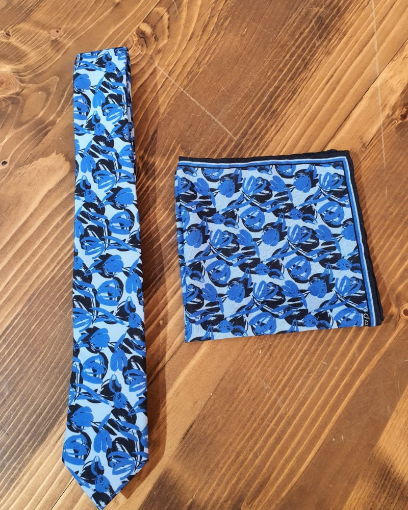 Blue Floral Neck Tie by GentWith.com with Free Worldwide Shipping
