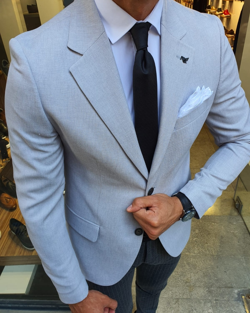 Gray Slim Fit Blazer for Men by GentWith.com with Free Worldwide Shipping