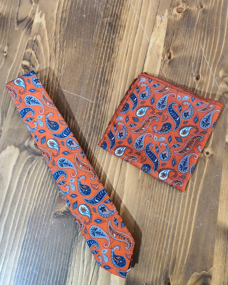 Orange Paisley Neck Tie by GentWith.com with Free Worldwide Shipping