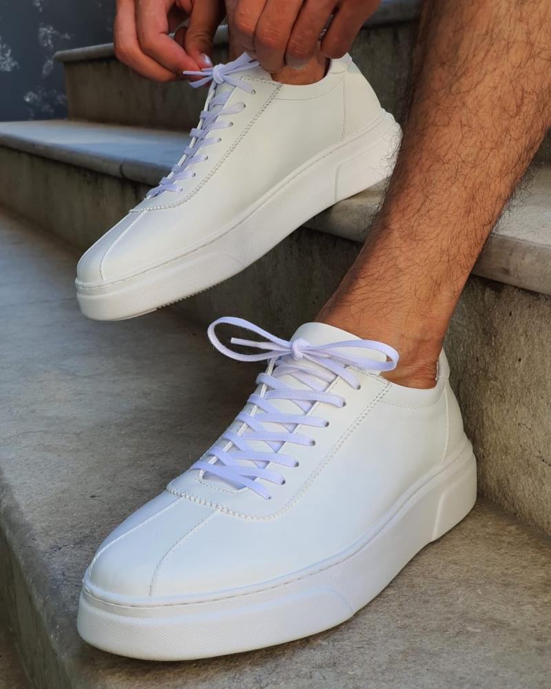 White Mid-Top Sneakers by GentWith.com with Free Worldwide Shipping