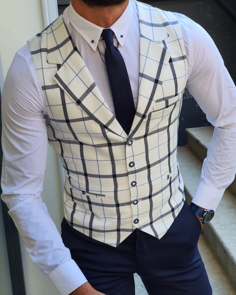 White Slim Fit Plaid Vest for Men by GentWith.com with Free Worldwide Shipping