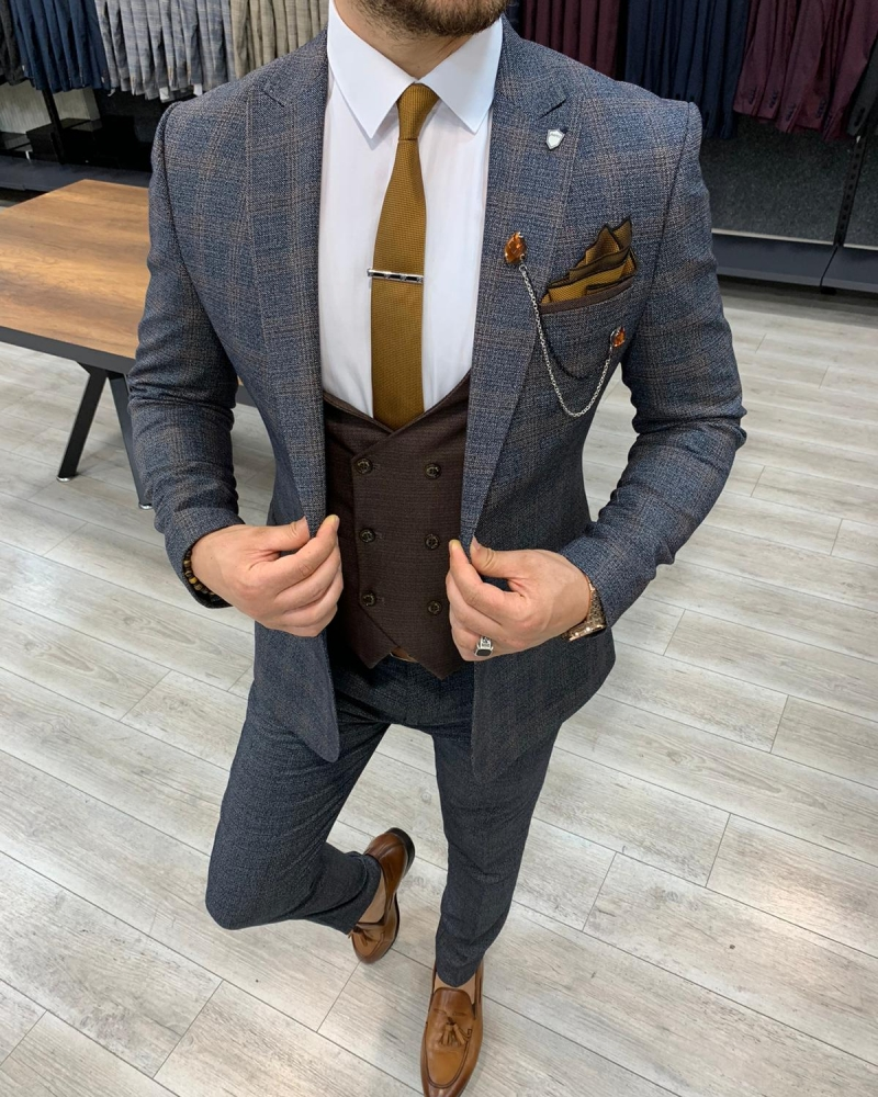 Gray Slim Fit Plaid Check Suit for Men by GentWith.com with Free Worldwide Shipping