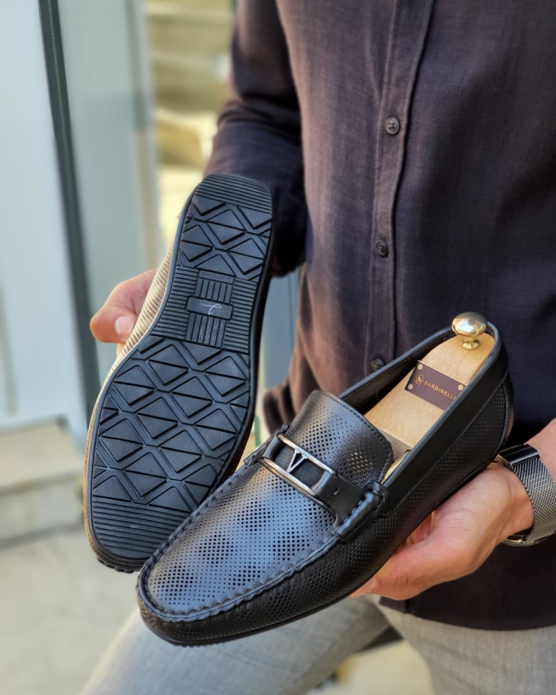 Black Bit Loafers for Men by GentWith.com with Free Worldwide Shipping