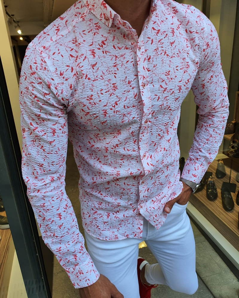 Red Slim Fit Floral Cotton Shirt for Men by GentWith.com with Free Worldwide Shipping