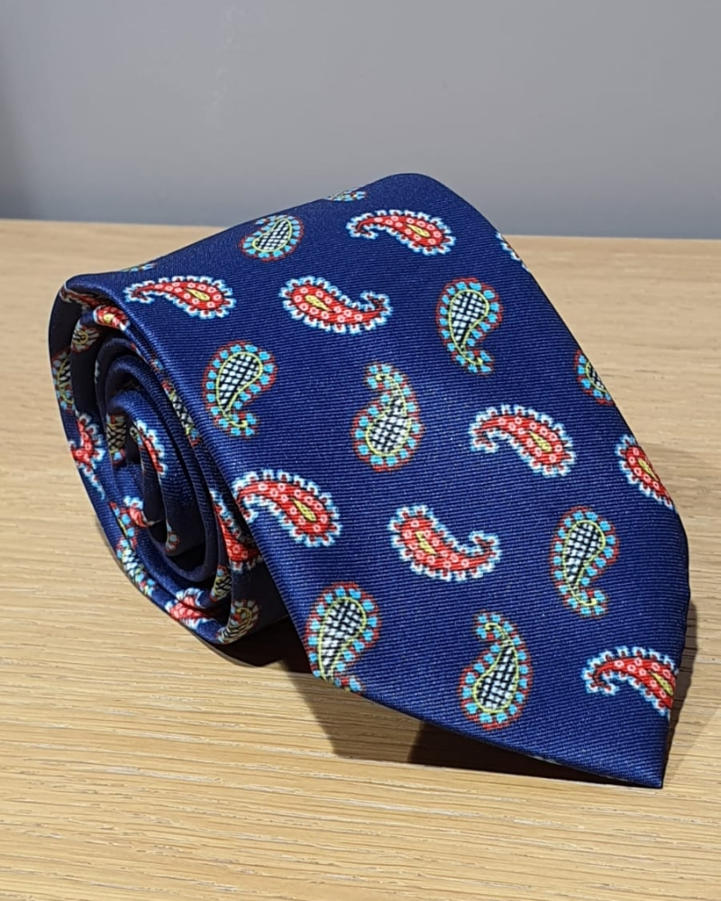 Navy Blue Paisley Neck Tie for Men by GentWith.com with Free Worldwide Shipping