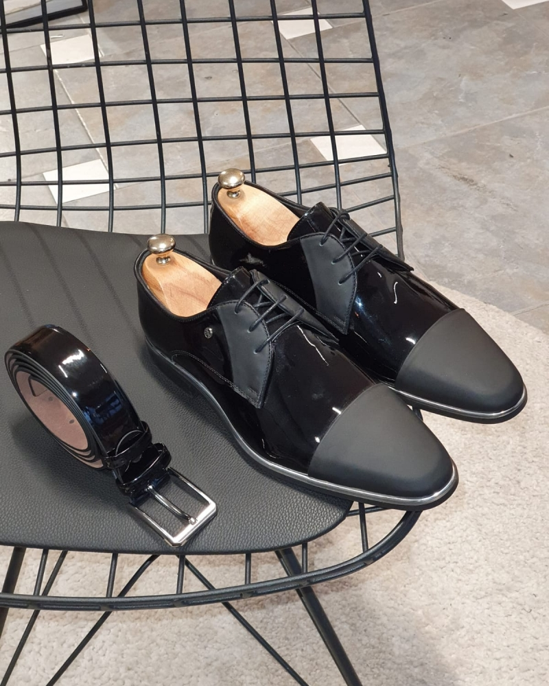 Black Cap Toe Laced Blucher by GentWith.com with Free Worldwide Shipping