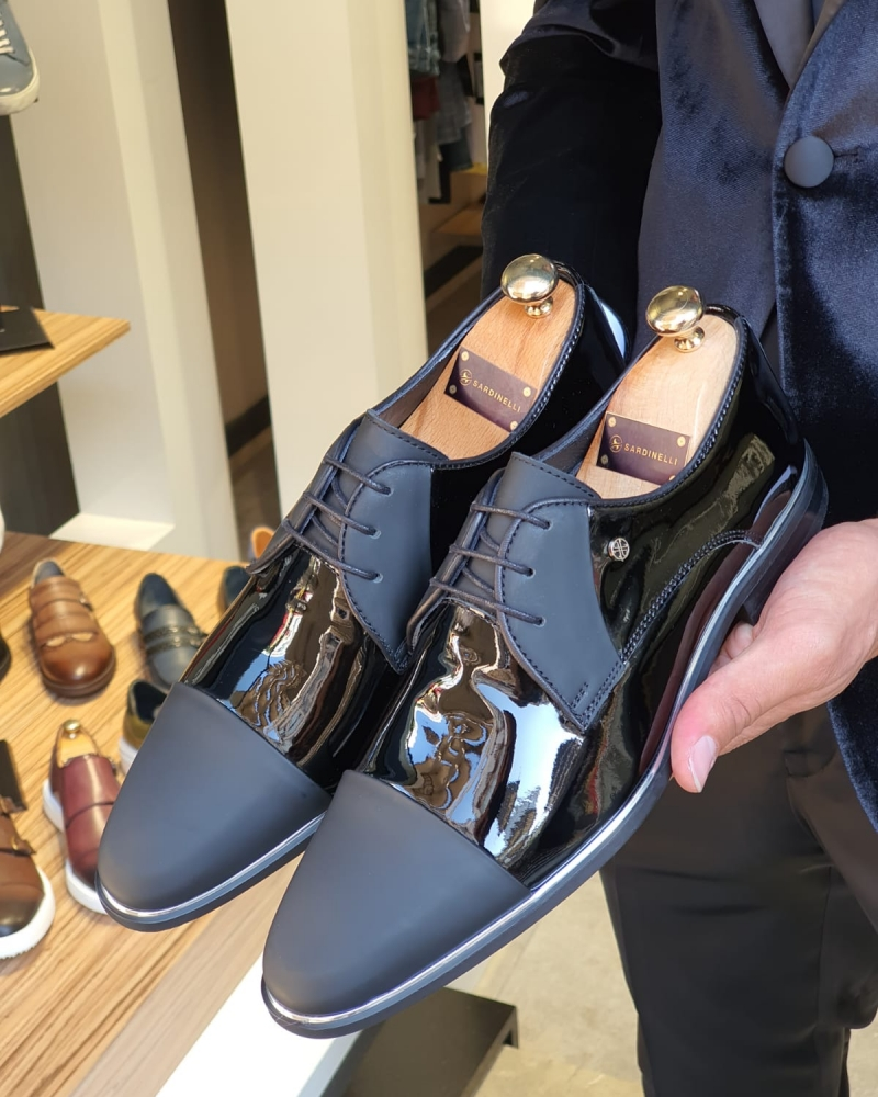 Black Cap Toe Laced Blucher for Men by GentWith.com with Free Worldwide Shipping