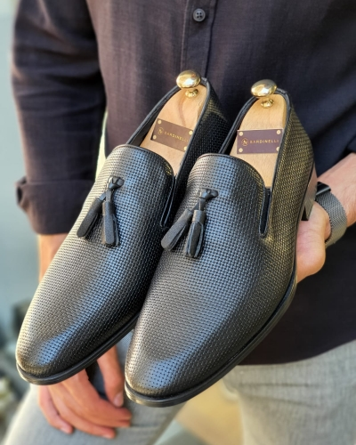 Black Patterned Tassel Loafers for Men by GentWith.com with Free Worldwide Shipping