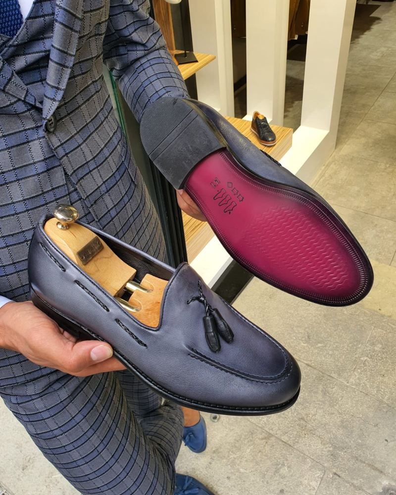 Gray Tassel Loafer by GentWith.com with Free Worldwide Shipping