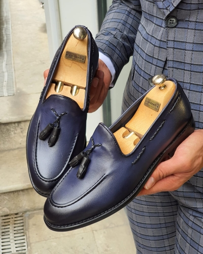 Navy Blue Tassel Loafer for Men by GentWith.com with Free Worldwide Shipping