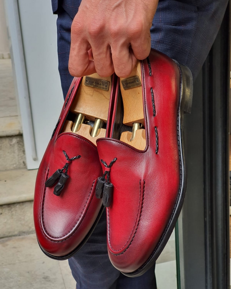 Red Tassel Loafer for Men by GentWith.com with Free Worldwide Shipping