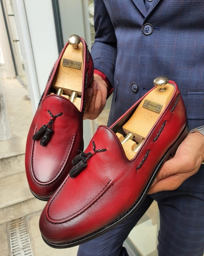 Red Tassel Loafer by GentWith.com with Free Worldwide Shipping