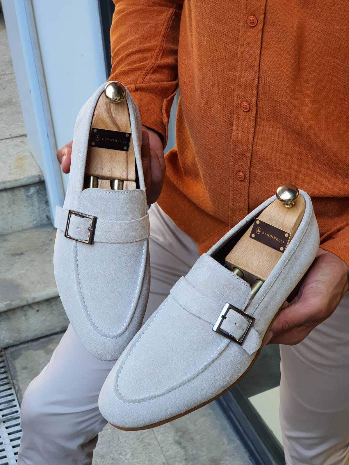 Buy Beige Suede Buckle Loafers by