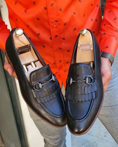Black Kilt Bit Loafers for Men by GentWith.com with Free Worldwide Shipping