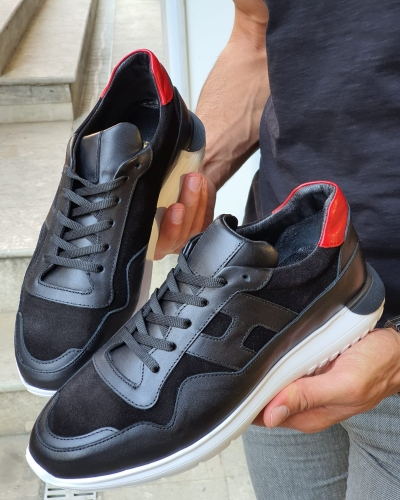 Black Mid Top Sneakers for Men by GentWith.com with Free Worldwide Shipping
