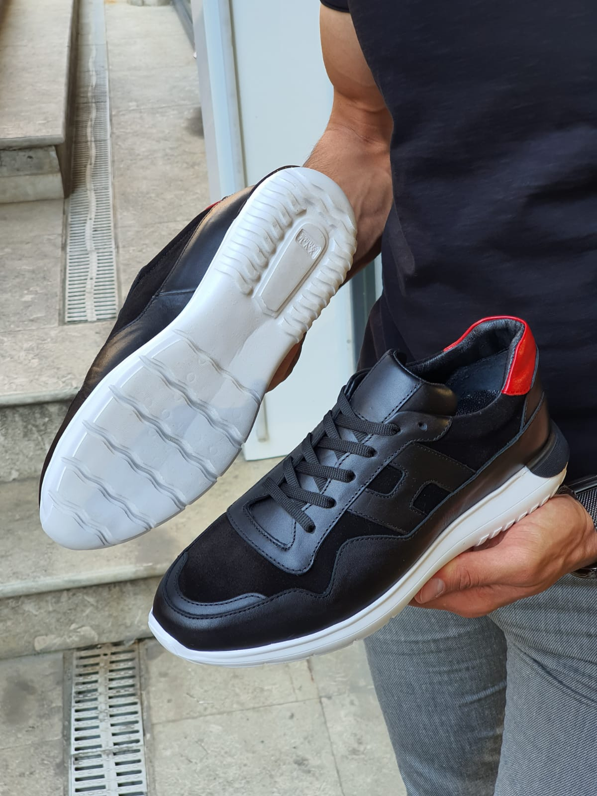 Black Mid-Top Sneakers by GentWith.com