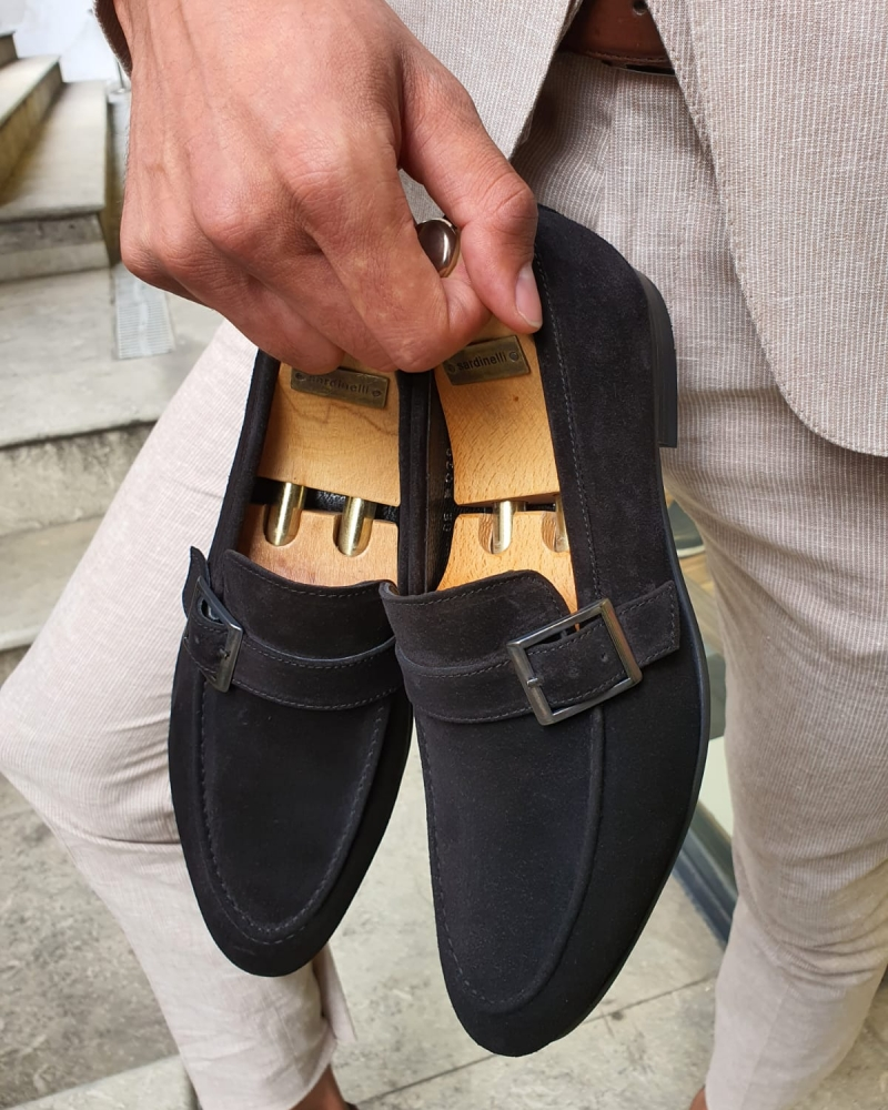 Black Suede Buckle Loafers by GentWith.com with Free Worldwide Shipping
