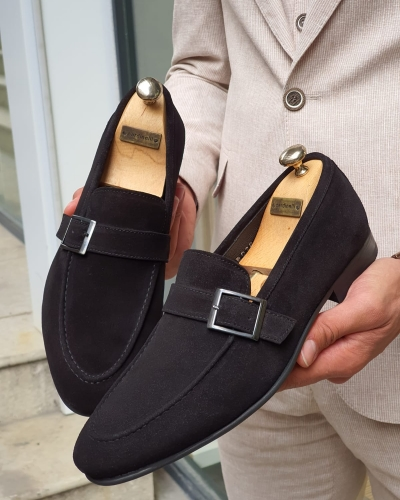 Black Suede Buckle Loafers for Men by GentWith.com with Free Worldwide Shipping