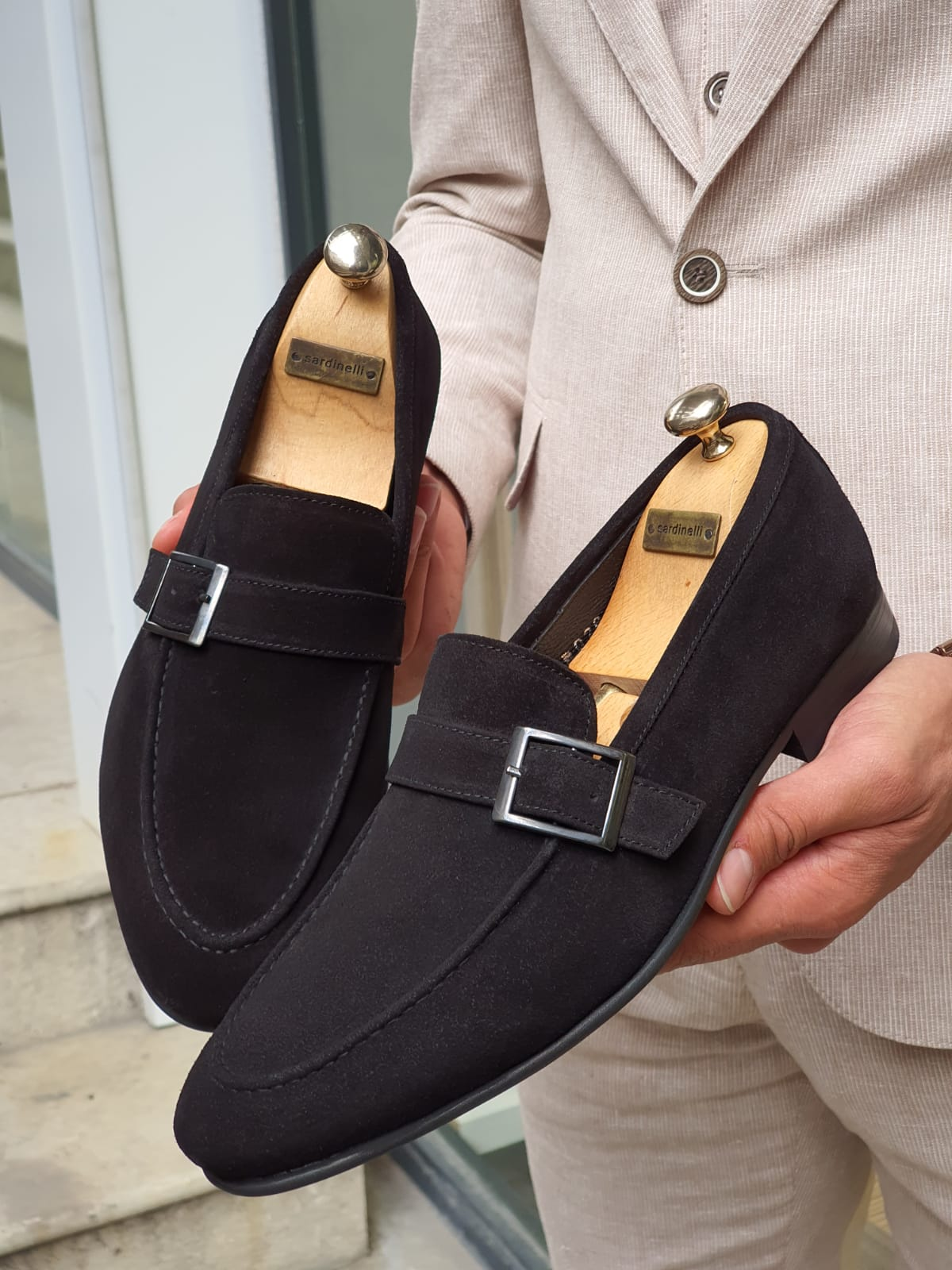 Buy Black Suede Buckle Loafers by