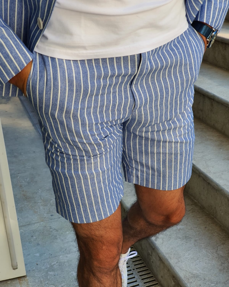 Blue Slim Fit Striped Shorts by GentWith.com with Free Worldwide Shipping