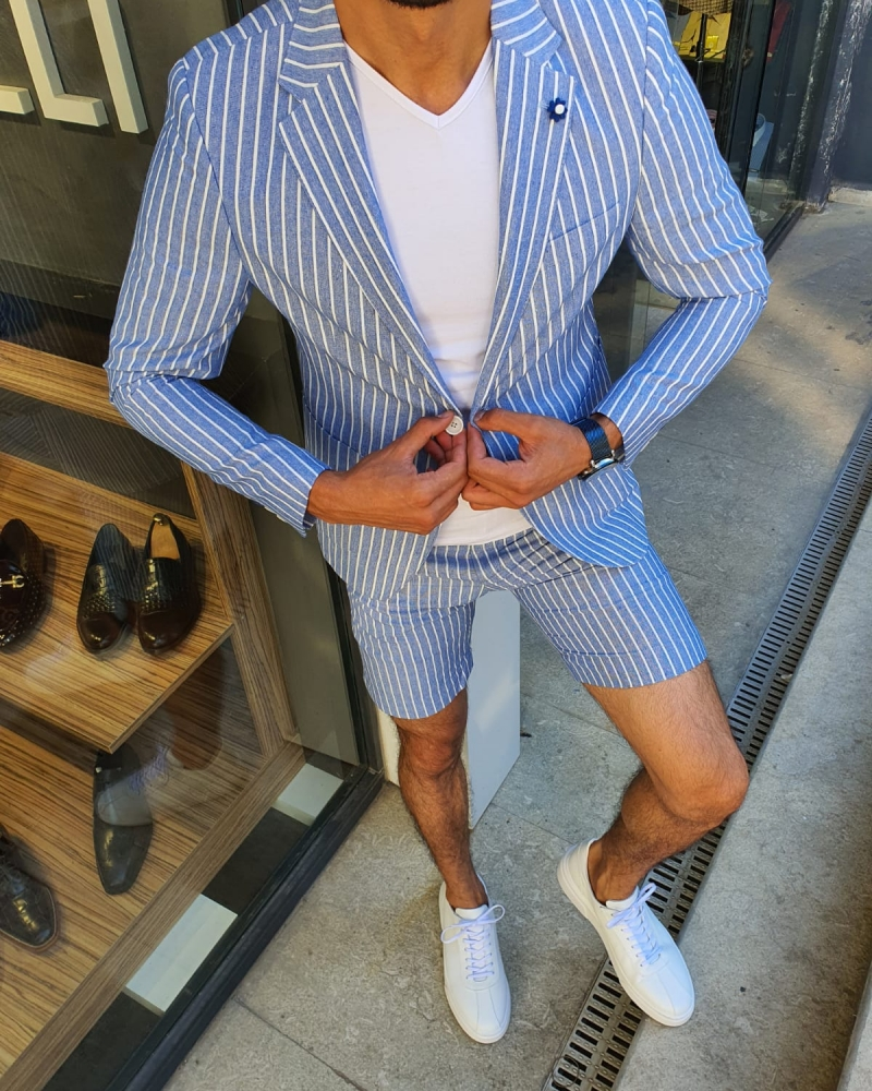 Blue Slim Fit Striped Suit for Men by GentWith.com with Free Worldwide Shipping