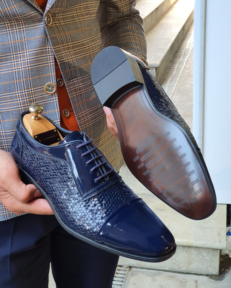 Navy Blue Wholecut Derbies for Men by GentWith.com with Free Worldwide Shipping