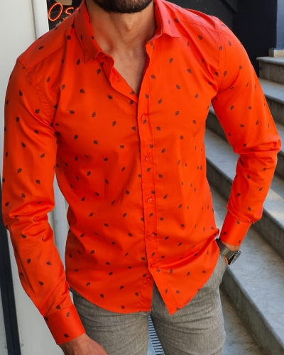 Orange Slim Fit Floral Shirt for Men by GentWith.com with Free Worldwide Shipping