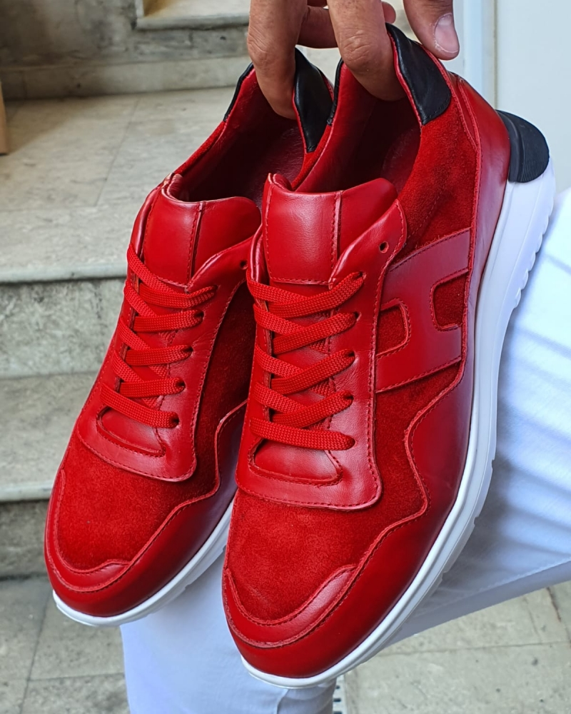 Red Mid Top Sneakers for Men by GentWith.com with Free Worldwide Shipping