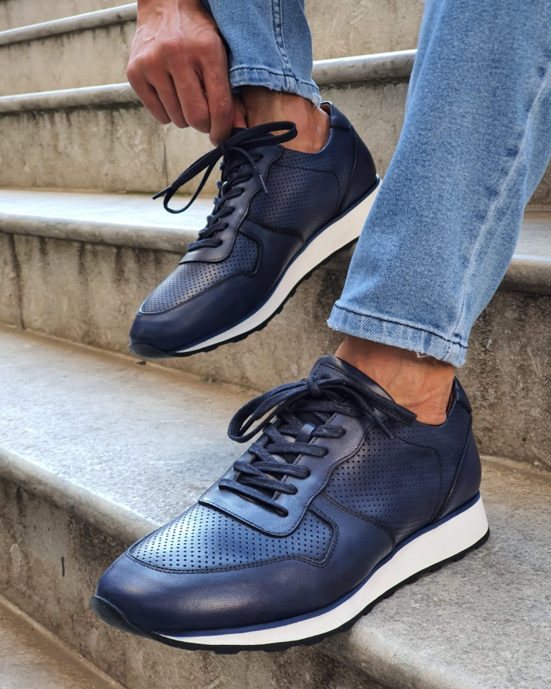 Navy Blue Mid-Top Sneakers for Men by GentWith.com with Free Worldwide Shipping
