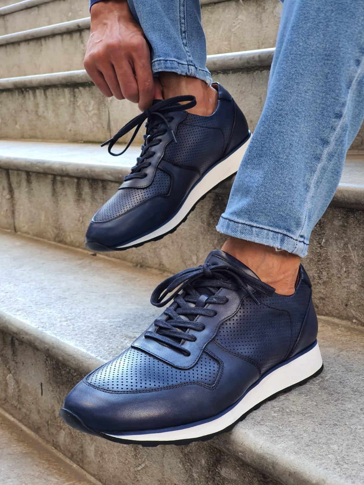 Buy Navy Blue Mid-Top Sneakers by