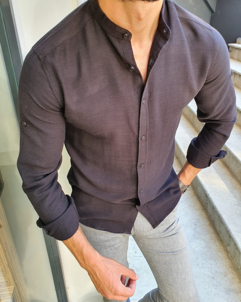 Black Slim Fit Cotton Shirt for Men by GentWith.com with Free Worldwide Shipping