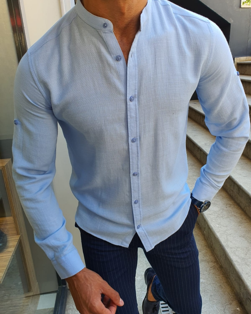 Blue Slim Fit Cotton Shirt for Men by GentWith.com with Free Worldwide Shipping