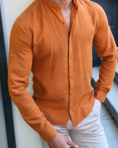 Orange Slim Fit Cotton Shirt for Men by GentWith.com with Free Worldwide Shipping