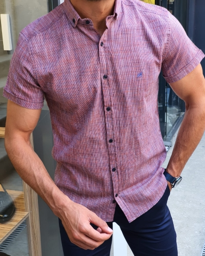 Orange Slim Fit Short Sleeve Shirt for Men by GentWith.com with Free Worldwide Shipping
