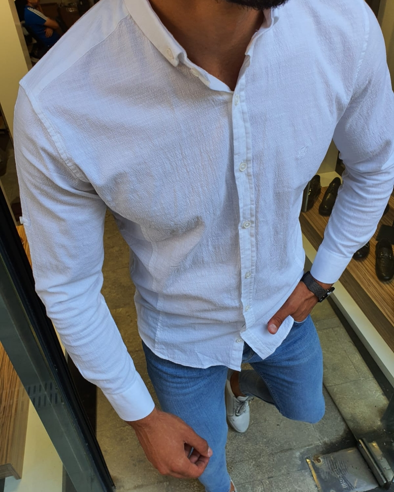 White Slim Fit Button Collar Shirt for Men by GentWith.com with Free Worldwide Shipping