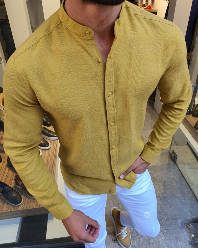 Yellow Slim Fit Cotton Shirt for Men by GentWith.com with Free Worldwide Shipping