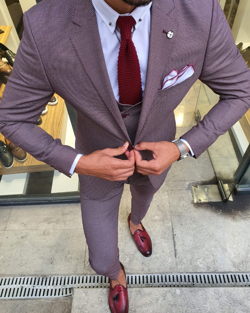 Caret Red Slim Fit Suit for Men by GentWith.com with Free Worldwide Shipping
