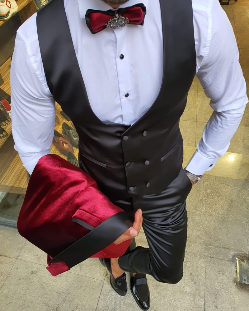 Red Slim Fit Peak Lapel Velvet Tuxedo for Men by GentWith.com with Free Worldwide Shipping