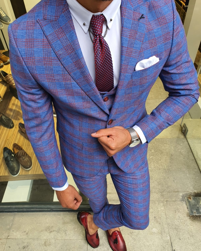 Sax Slim Fit Plaid Suit for Men by GentWith.com with Free Worldwide Shipping