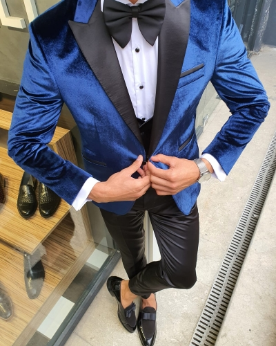 indigo Slim Fit Peak Lapel Velvet Tuxedo by GentWith.com with Free Worldwide Shipping