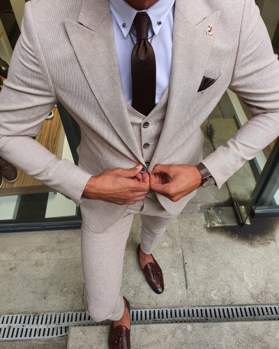 Beige Slim Fit Pinstripe Suit for Men by GentWith.com with Free Worldwide Shipping