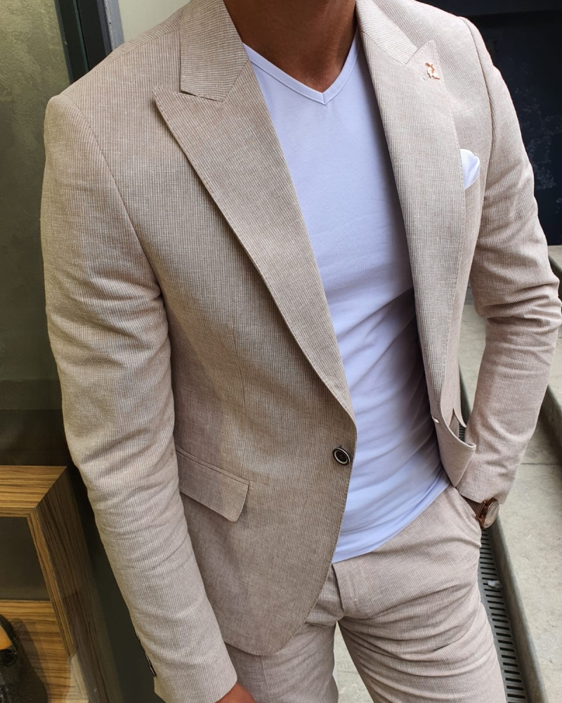 Beige Slim Fit Pinstripe Two-Piece Suit by GentWith.com with Free Worldwide Shipping