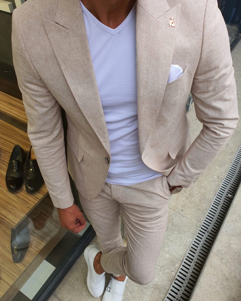 Beige Slim Fit Pinstripe Two-Piece Suit for Men by GentWith.com with Free Worldwide Shipping