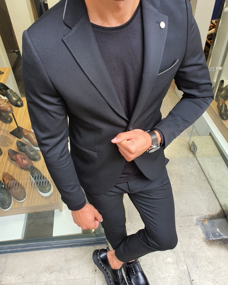 Black Slim Fit Suit for Men by GentWith.com with Free Worldwide Shipping