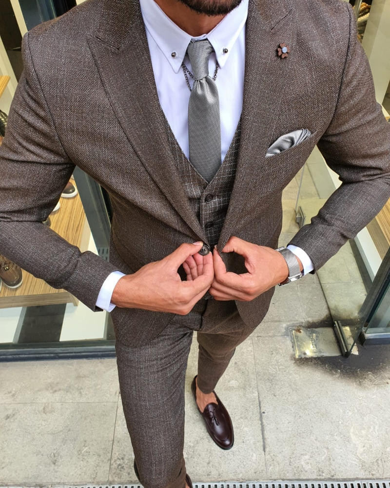 Brown Slim Fit Patterned Suit by GentWith.com with Free Worldwide Shipping