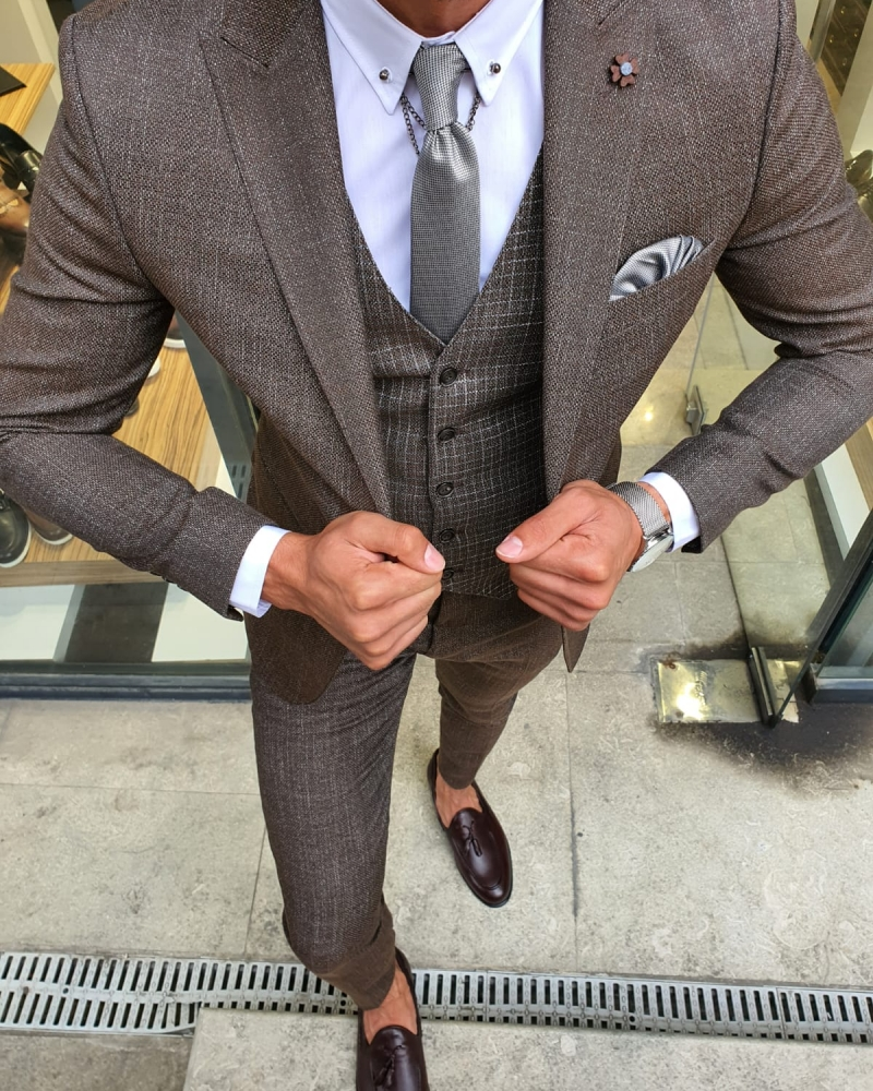 Brown Slim Fit Patterned Suit for Men by GentWith.com with Free Worldwide Shipping