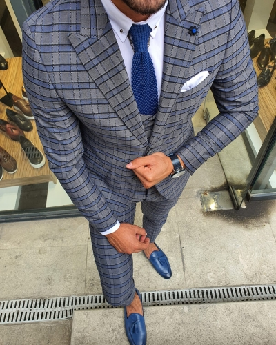 Gray Slim Fit Plaid Suit by GentWith.com with Free Worldwide Shipping