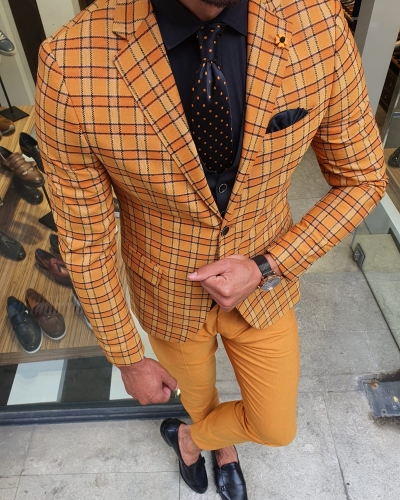 Mustard Slim Fit Plaid Suit for Men by GentWith.com with Free Worldwide Shipping